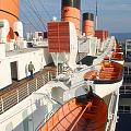 Life Boats 01 Queen Mary Ocean Liner Port Long Beach Ca by Thomas Woolworth