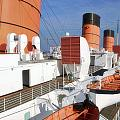 Life Boats 02 Queen Mary Ocean Liner Port Long Beach Ca by Thomas Woolworth