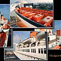 Life Boats Collage Queen Mary Ocean Liner Long Beach Ca by Thomas Woolworth