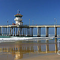 Life Guard Station Reflection On Ocean Sand At Huntington Beach City Pier Fine Art Photography Print by Jerry Cowart