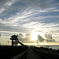 Life Guard Tower And Jetty At Dawn 9-27-14 By Julianne Felton by Julianne Felton