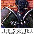 Life Is Better With Rhythm Black Lab Drummer by Kathleen Harte Gilsenan