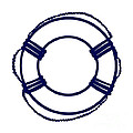 Life Preserver In Navy Blue And White by Jackie Farnsworth