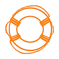 Life Preserver In Orange And White by Jackie Farnsworth