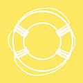 Life Preserver In White And Yellow by Jackie Farnsworth