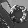 Life Ring Uss Iowa Battleship Bw by Thomas Woolworth
