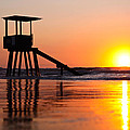 Lifeguard Stand In A Texas Sunrise by Brenda Boyer