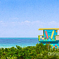 Lifeguard Station In Miami by Les Palenik