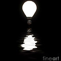 Light Bulb Shining With Reflection In Water On Black by Simon Bratt Photography LRPS