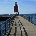 Light House In Charlevoix Mich by Kathy DesJardins