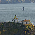 Lighthouse And Sailboat by SC Heffner