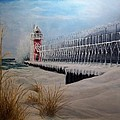 South Haven Mi Lighthouse In Four Seasons-winter by Michael John Cavanagh