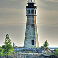 Lighthouse Just Before Sunset At Erie Basin Marina by Michael Frank Jr