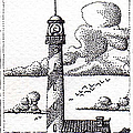 Lighthouse On A Cliff Bookmark by Weston Westmoreland