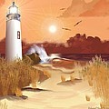 Lighthouse On The Coast by Edmond Hogge
