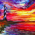 Lighthouse - Palette Knife Oil Painting On Canvas By Leonid Afremov by Leonid Afremov