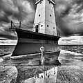 Lighthouse Reflection Black And White by Sebastian Musial