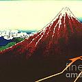 Lightning Below Red Fuji 1826 by Padre Art