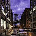 Lightning Over Manhattan Bridge by Alex Potemkin