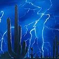 Lightning  Over The Sonoran by Sharon Duguay