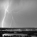 Lightning Strike Boulder Reservoir And Coot Lake Bw by James BO  Insogna