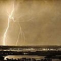 Lightning Strike Boulder Reservoir And Coot Lake Sepia 2 by James BO Insogna