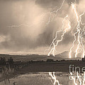 Lightning Striking Longs Peak Foothills Sepia 4 by James BO  Insogna