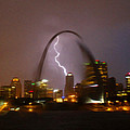 Lightning With The St Louis Arch by Garry McMichael