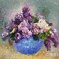 Lilac In Blue Vase by Dragica  Micki Fortuna