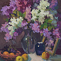 Lilacs And Blue Vase by Diane McClary