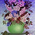 Lilacs And Queen Anne's Lace In Pink And Purple by Barbara Griffin