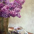 Lilacs In Vase 3 by Rebecca Cozart