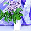 Lilacs With Abstract by Marsha Heiken