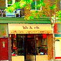 Lili And Oli Latte Espresso Cappucino Coffee Shop Rue Notre Dame St Henri City Scene Carole Spandau by Carole Spandau