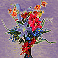 Lilies And Orchids Topaz II by Linda Brody