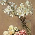 Lilies In A Vase by Ignace Henri Jean Fantin-Latour