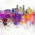 Limassol Skyline In Watercolor Background by Pablo Romero