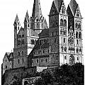 Limburg Cathedral Beautiful Detailed Woodblock Print by Christos Georghiou