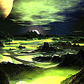 Lime Green Alien Landscape by Spinning Angel