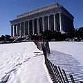 Lincoln Memorial In The Snow by Skip Willits