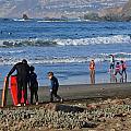 Linda Mar Beach Families by Dean Ferreira