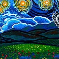 Lion And Owl On A Starry Night by Genevieve Esson