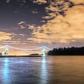 Lion's Gate Bridge Vancouver At Night by Eti Reid