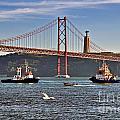 Lisbon - Portugal - Vinte E Cinco De Abril Bridge And Tagus River-rio Tejo by Carlos Alkmin