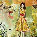 Little Birdie Inspirational Mixed Media Folk Art By Janelle Nichol by Janelle Nichol
