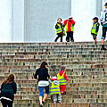 Little Children Climbing Steps Of Lutheran Cathedral Of Helsinki-finland by Ruth Hager