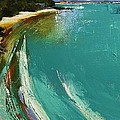 Little Cove Noosa Heads Abstract Palette Knife Seascape Painting by Chris Hobel