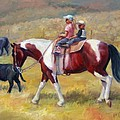 Little Cowboys Of Ruby Valley Western Art Cowboy Painting by Kim Corpany