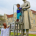 Little Girl Gets Close To Woman Sculpture In Donkin Reserve In Port Elizabeth-south Africa by Ruth Hager