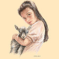 Little Girl Holding A Baby Goat by Sylvia Castellanos